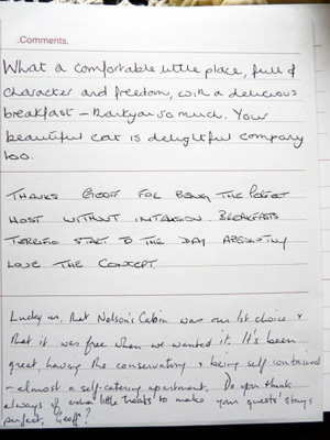 Comments from the visitors book